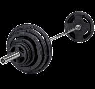 Skivstångsset i järn, innehåller olympiska vikter och en olympisk skivstång