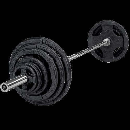 Fräscha 100 kg set i Järn inkl. svart special stång - Västsvenska AX-08