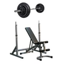 Gympaket som består av skivstångsställning, ställbar träningsbänk och olympiskt skivstångsset.