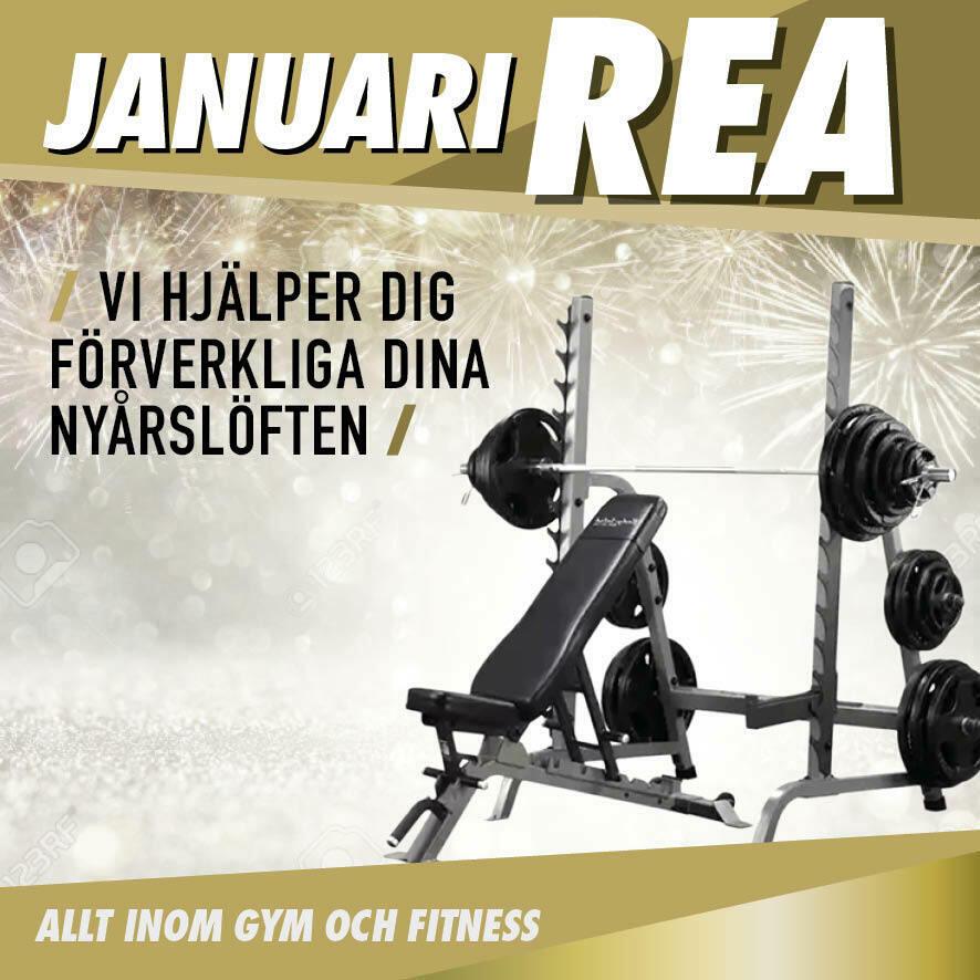 Januari rea banner med skivstångsställning - mobil